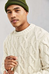 Schott Cable Knit Fisherman Crew Neck Sweater Ivory
