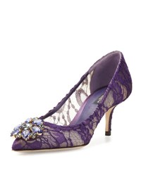 Dolce And Gabbana Jewel Embellished Lace Pump Viola