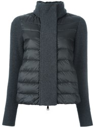 Moncler Padded Knitted Cardigan Grey