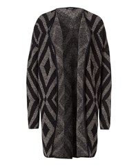 Olsen Geometric Knitted Cardigan Black