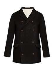 Giorgio Armani Double Breasted Wool Blend Pea Coat Black
