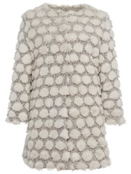 French Connection Bubble Faux Fur Collarless Jacket Classic Cream Multi
