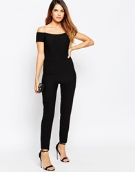 Tfnc Off Shoulder Catsuit With Twisted Back Black