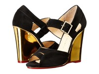 Charlotte Olympia Marcella 100 Black Gold Suede Metallic Calfskin Women's Wedge Shoes