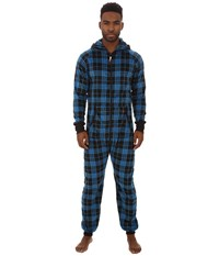 Original Penguin One Piece Pajama Blue Park Plaid Men's Pajama Sets
