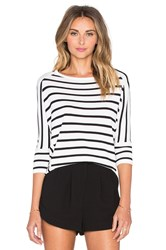 J.O.A. Striped Dolman Top Black