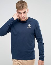 Franklin And Marshall Crest Logo Long Sleeve T Shirt Navy