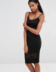 Missguided Jersey Mesh Insert Midi Dress Black