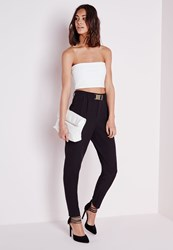 Missguided Gold Buckle Detail Cigarette Trousers Black