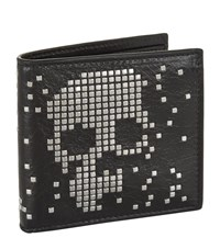 Alexander Mcqueen Bifold Studded Skull Leather Wallet Unisex Black