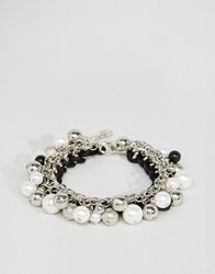 Lipsy Disc And Bead Bracelet Silver Black