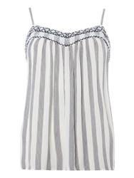 Dorothy Perkins Embroidered Striped Camisole Top Blue