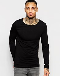 Asos Muscle Long Sleeve T Shirt With Boat Neck In Black Black