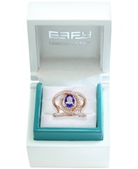 Effy Collection Effy Limited Edition Tanzanite 1 1 6 Ct. T.W. And Diamond 3 5 Ct. T.W. Swirl Ring In 14K Rose Gold Purple