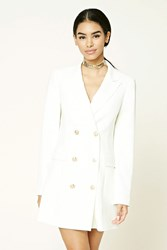 Forever 21 Double Breasted Longline Blazer Cream