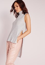 Missguided Ribbed Roll Neck Split Side Tunic Grey Grey