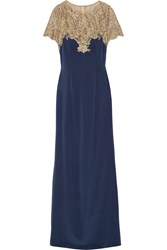Marchesa Notte Metallic Embroidered Tulle And Stretch Silk Gown Navy Gold