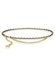Tory Burch Leather Woven Chain Belt Gold Black