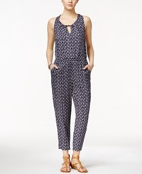 Lucky Brand Printed Open Back Jumpsuit Navy Multi