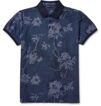 Etro Sli Fit Floral Cotton Pique Polo Shirt Stor Blue Storm Blue