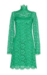 Dolce And Gabbana Jade Green Lace Turtleneck Dress