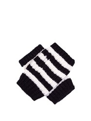 Gucci Striped Wool Fingerless Gloves Blue White