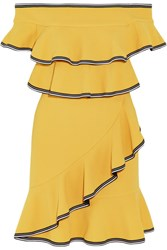 Rebecca Vallance Courtside Off The Shoulder Ruffled Stretch Cloque Mini Dress Yellow