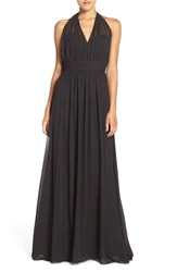 Hayley Paige Occasions Women's Ruched Waist Chiffon Halter Gown Black