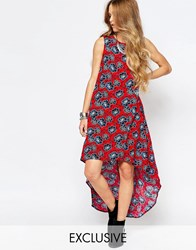 Glamorous Hi Low Hem Vest Maxi Dress In Floral Print Red