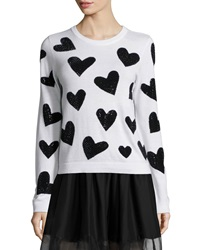 Alice Olivia Carey Sequin Heart Wool Pullover Sweater White Black