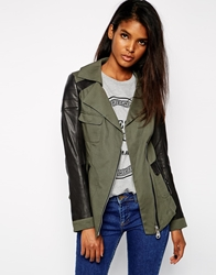 Doma Long Jacket With Contrast Leather Sleeves Militarygreen