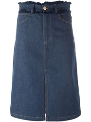 See By Chloe Frayed Edge Denim Skirt Blue