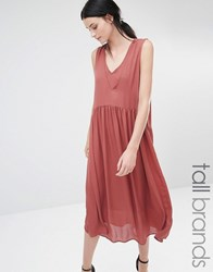 Y.A.S Tall Vinc Plunge Front Oversized Midi Dress Burnt Orange