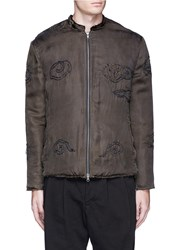 By Walid 'Dragon' One Of A Kind Embroidered Satin Blouson Jacket Grey