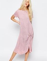 Asos Casual Knot Front Midi T Shirt Dress Pink