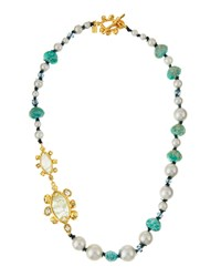 Alexis Bittar Beaded Shell Pearl And Crystal Station Necklace Women's