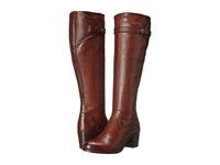 Frye Malorie Button Tall Redwood Smooth Vintage Leather Cowboy Boots Burgundy