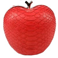 Annie Diamantidis Handbags Apple Minaudire In Red Genuine Python Skin