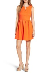 Everly Women's 'Rowan' V Neck Skater Dress Orange