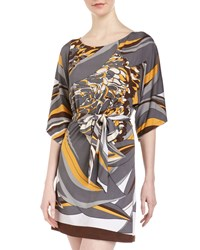 Julie Brown Gilly New Floral Pucci Tie Stretch Jersey Dress Women's