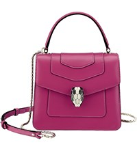 Bulgari Serpenti Forever Leather Shoulder Bag Raspberry Agate