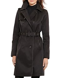 Ralph Lauren Leather Trim Trench Coat Black