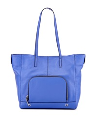 Milly Astor Pebbled Leather Tote Bag Blue