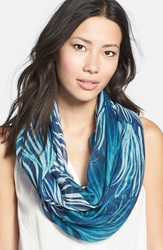 Nordstrom Floral Print Infinity Scarf Teal Combo