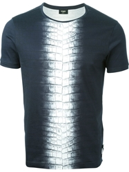Fendi Embossed Crocodile Print Panel T Shirt Grey