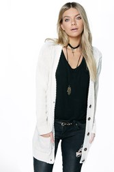 Boohoo Cable Pocket Cardigan Cream