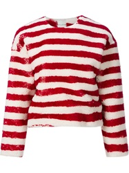 Each X Other Oversized Striped Sweater Red
