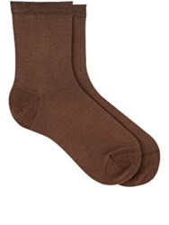 Maria La Rosa Women's Solid Ankle Socks Tan