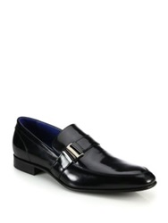 Saks Fifth Avenue Freddy Side Buckle Leather Loafers Black