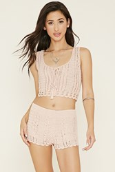 Forever 21 Lace Up Crochet Crop Top
